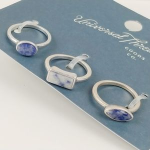 Universal Thread trio of sodalite and silver rings